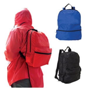 rain jacket and a water-resistant backpack